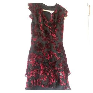 Parker Merlot Mini blouson ruffle dress NWT size 4